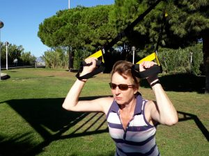 Sue does TRX in Cambrils 1
