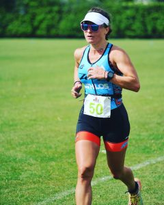 Helen wins the women's race at the Enduro Olympic Triathlon in Trowbridge on 1 May 17