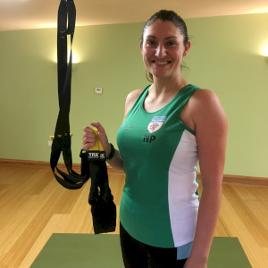 Nicky Price in her Devon shirt with the TRX