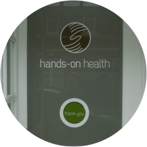 Hands-on Health front door with 'thank you' sign